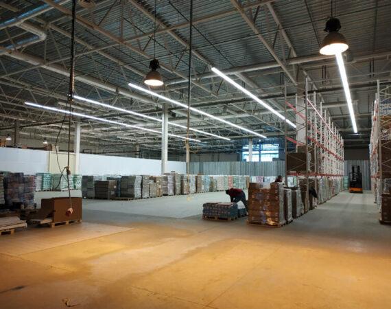 Установка систем освещения склада